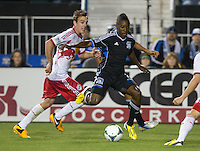 March 10th, 2013: Cordell Cato controlling the ball away from Eric Alexander during a game at Buck Shaw Stadium, Santa Clara, Ca.   Earthquakes defeated Red Bulls 2-1
