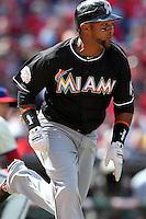 Miami Marlins outfielder Emilio Bonifacio #1 during a game against the Philadelphia Phillies at Citizens Bank Park on April 9, 2012 in Philadelphia, Pennsylvania.  Miami defeated Philadelphia 6-2.  (Mike Janes/Four Seam Images)