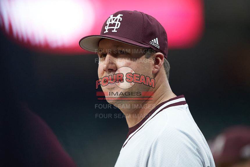 Mississippi State Bulldogs assistant coach Jake Gautreau during the game against the Houston Cougars in game six of the 2018 Shriners Hospitals for Children College Classic at Minute Maid Park on March 3, 2018 in Houston, Texas. The Bulldogs defeated the Cougars 3-2 in 12 innings. (Brian Westerholt/Four Seam Images)