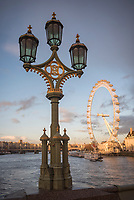The London Eye at sunset, seen from Westminster Bridge, South Bank, London, England