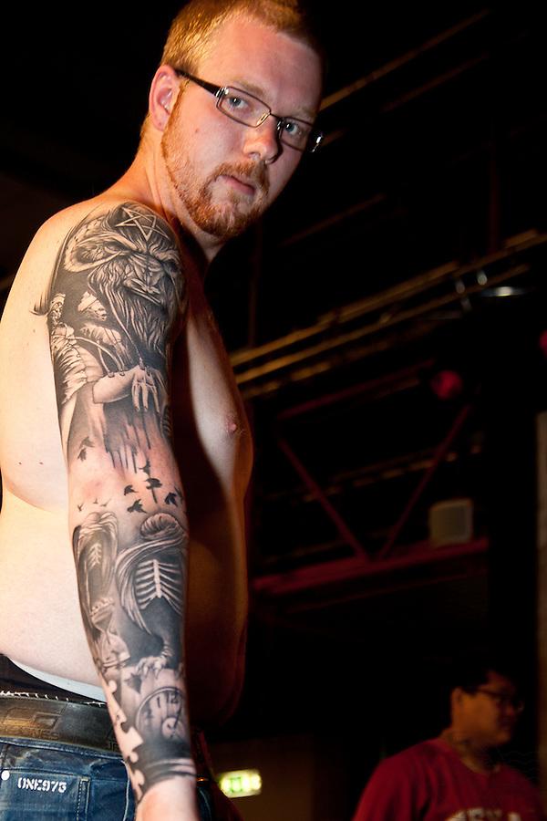 Copenhagen Inkfestival 2012. Black and grey demon arm.