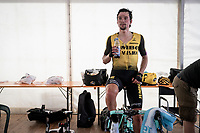 Primoz Roglic (SVK/Jumbo-Visma) warming down after the mountaintop finish of Stage 13: Pinerolo to Ceresole Reale/Lago Serrù (196km)<br /> 102nd Giro d'Italia 2019<br /> <br /> ©kramon