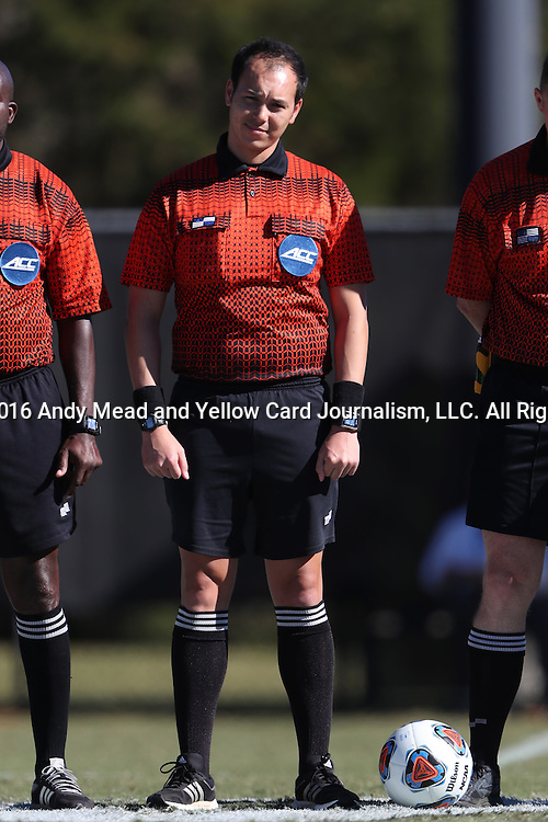 06 November 2016: Fourth Official Michael Rhinehart. The Wake Forest University Demon Deacons hosted the University of Notre Dame Fighting Irish at Spry Stadium in Winston-Salem, North Carolina in a 2016 NCAA Division I Men's Soccer match and an Atlantic Coast Conference Men's Soccer Tournament quarterfinal. Wake Forest won the game 1-0.