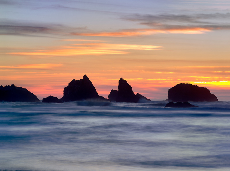 Sunset and rocks. Bandon, Oregon