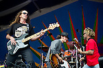 Anders Osborne and Carl Dufrene perform during the New Orleans Jazz & Heritage Festival in New Orleans, LA.