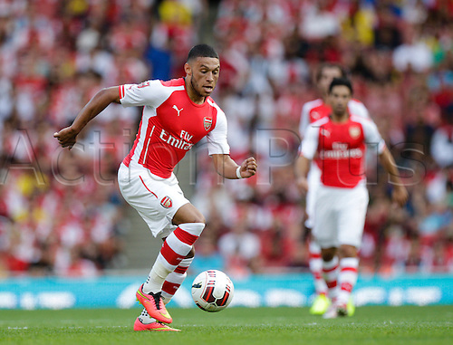03.08.2014. London, England. Emirates Cup.  Arsenal versus AS Monaco.   Arsenal forward Alex OXLADE-CHAMBERLAIN in action.  With Monaco winning 0-1 and Valencia winning earlier in the day, Valencia won the tournament trophy.