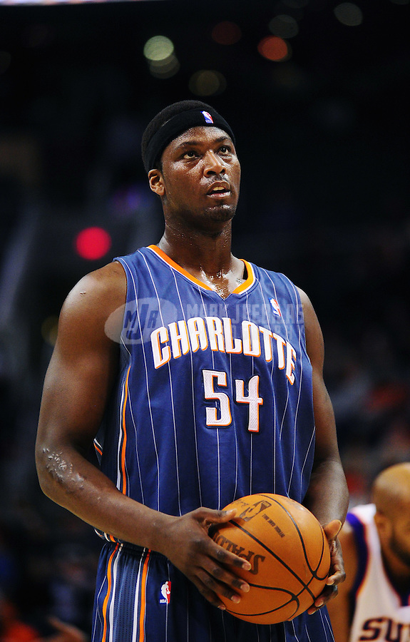 Jan. 26, 2011; Phoenix, AZ, USA; Charlotte Bobcats center (54) Kwame Brown against the Phoenix Suns at the US Airways Center. The Bobcats defeated the Suns 114-107. Mandatory Credit: Mark J. Rebilas-