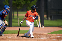 GCL Astros Rainier Rivas (53) at bat during a Gulf Coast League game against the GCL Mets on August 10, 2019 at FITTEAM Ballpark of the Palm Beaches Training Complex in Palm Beach, Florida.  GCL Astros defeated the GCL Mets 8-6.  (Mike Janes/Four Seam Images)