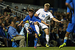 06 December 2014: UCLA's Jordan Vale (NZL) (6) and North Carolina's Verneri Valimaa (18). The University of California Los Angeles Bruins hosted the University of North Carolina Tar Heels at Drake Stadium in Los Angeles, California in a 2014 NCAA Division I Men's Soccer Tournament Quarterfinal round match. The game ended in a 3-3 tie after two overtimes. UCLA advanced to the next round by winning the penalty kick shootout 7-6.