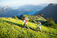 Trail running at sunrise on the Rophaien, with the Vierwaldstättersee in the distance, Switzerland