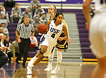 SIOUX FALLS, SD - NOVEMBER 25: Jasmine Harris #4 from the University of Sioux Falls gets a step around Meleah Reinhart #1 from Southwest Minnesota State University during their game Saturday evening at the Stewart Center in Sioux Falls. (Photo by Dave Eggen/Inertia)