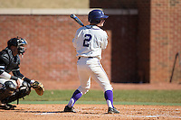 Hunter Lee (2) of the High Point Panthers at bat against the LIU-Brooklyn Blackbirds at Willard Stadium on March 8, 2015 in High Point, North Carolina.  The Panthers defeated the Blackbirds 9-0.  (Brian Westerholt/Four Seam Images)