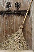 Broom in doorway, Hong Cun Village, Yi County, China