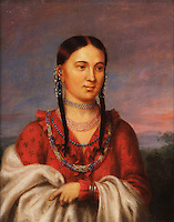 Eagle of Delight, or Hayne Hudjihini, 1795-1822, 1 of the 5 wives of Chief Shaumonekusse of the Otoe tribe in present-day Nebraska, painting, c. 1822, oil on canvas, by Charles Bird King, 1785-1862, American artist, from the William Sr and Dorothy Harmsen Collection, in the Denver Art Museum, Denver, Colorado, USA. This painting was commissioned by the Bureau of Indian Affairs after Eagle of Delight accompanied her husband and other Indian chiefs to Washington DC to meet with President James Monroe. Picture by Manuel Cohen