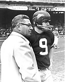Washington Redskins head coach Vince Lombardi and quarterback Sonny Jurgensen (9) discuss strategy during the third quarter of the game against the Los Angeles Rams at RFK Stadium in Washington, D.C. on Sunday, November 30, 1969.  This was Lombardi's only season as Redskins head coach.  The Rams won the game 24 - 13..Credit: Arnie Sachs / CNP