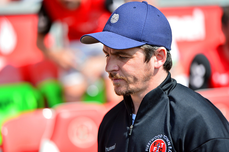 Fleetwood Town manager Joey Barton walks to the dugout<br /> <br /> Photographer Richard Martin-Roberts/CameraSport<br /> <br /> The EFL Sky Bet League One - Fleetwood Town v Peterborough United - Friday 19th April 2019 - Highbury Stadium - Fleetwood<br /> <br /> World Copyright © 2019 CameraSport. All rights reserved. 43 Linden Ave. Countesthorpe. Leicester. England. LE8 5PG - Tel: +44 (0) 116 277 4147 - admin@camerasport.com - www.camerasport.com