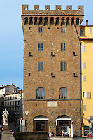 Low angle view of Palazzo Spini Feroni, 1289, Geri Spini, Florence, Tuscany, Italy, pictured on June 10, 2007, in the afternoon. Over the centuries it changed hands several times, from the Spinis to the Guasconis and then to the Bagnano and Feroni families. In 1846 the palazzo was acquired by the City of Florence and from 1860 to 1870 when Florence was the capital of Italy, it was the seat of the City Council. In 1881 it was sold to the Cassa di Risparmio and came under private ownership when Salvatore Ferragamo purchased it in 1938 as the headquarters of the company and his own workshop. The building was restored in 2000 and now proudly shows its masterpieces of seventeenth and eighteenth century Fiorentine art. Florence, capital of Tuscany, is world famous for its Renaissance art and architecture. Its historical centre was declared a UNESCO World Heritage Site in 1982. Picture by Manuel Cohen.