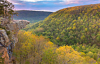 Ozark National Forest, AR: Sunrise at Hawksbill Crag in the Upper Buffalo Wilderness Area
