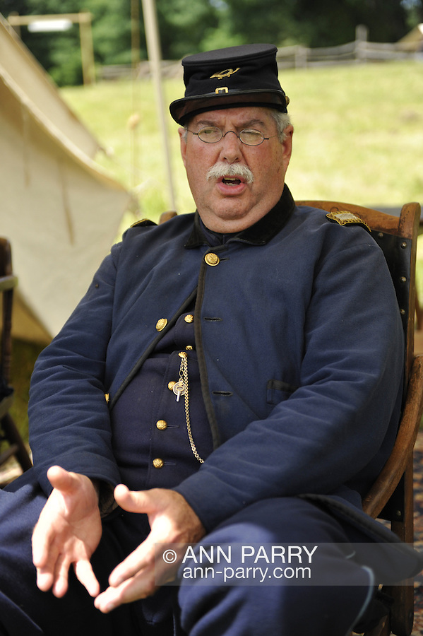 Old Bethpage, New York, USA - July 21, 2012: MARK ADLER of Oceanside, NY, portrays Commander at re-creation of Camp Scott, a Union Army training camp, at Old Bethpage Village Restoration, to commemorate 150th Anniversary of American Civil War.