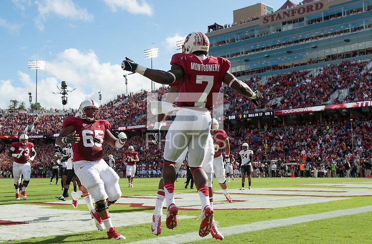Stanford, California, 09-21-2013: Stanford's Ty Montgomery during the Stanford vs ASU football game at Stanford Stadium on Saturday...