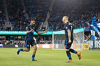 San Jose, CA - Saturday April 14, 2018: Magnus Eriksson celebrates scoring during a Major League Soccer (MLS) match between the San Jose Earthquakes and the Houston Dynamo at Avaya Stadium.