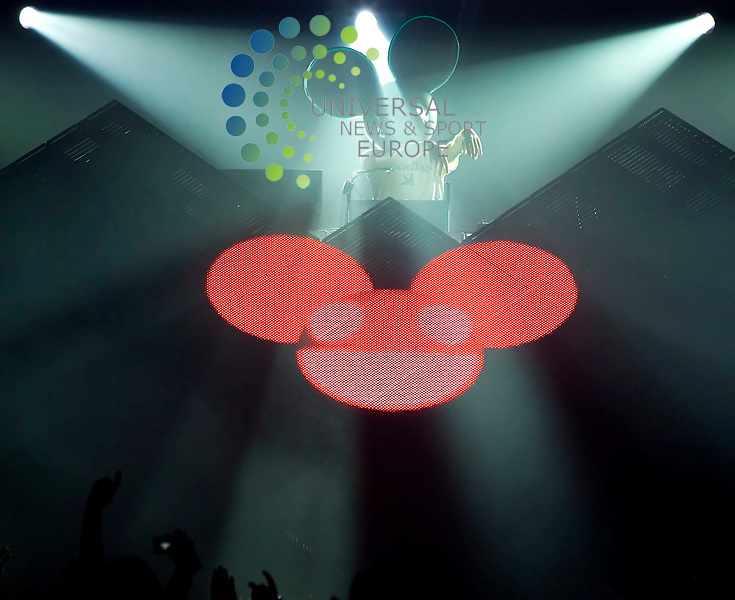Deadmau5, the DJ guise of Joel Thomas Zimmerman from Ontario, Canada, plays his dance music and lkights up his dance cube at a packed Barrowlands Ballroom in Glasgow on Tuesday 4th May 2010.. .Pictures: Peter Kaminski/Universal News and Sport (Europe)2010