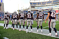Thursday August 11, 2016: The New England Patriots defense  prepare for an NFL pre-season game between the New Orleans Saints and the New England Patriots held at Gillette Stadium in Foxborough Massachusetts. The Patriots defeat the Saints 34-22 in regulation time. Eric Canha/CSM