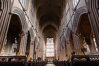 The interior of Bath Abbey, Bath, UK, May 4, 2015. The UNESCO World Heritage city of Bath is famed for its hot spa that dates back to Roman times and for its Georgian architecture. For much of its history the city has been a popular holiday resort. It is the only hot spa in the UK.