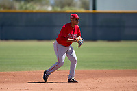 Los Angeles Angels shortstop Juan Moreno (6) during an Extended Spring Training game against the Chicago Cubs at Sloan Park on April 14, 2018 in Mesa, Arizona. (Zachary Lucy/Four Seam Images)