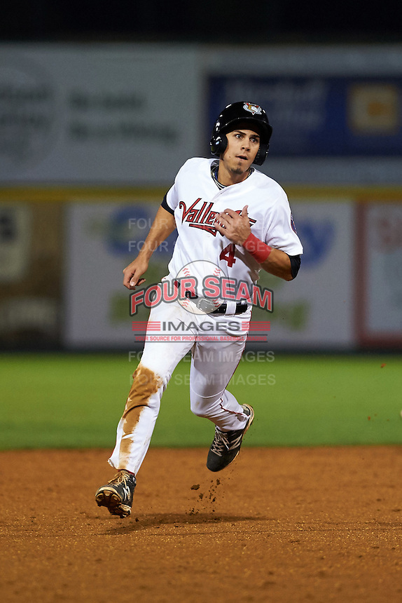 Tri-City ValleyCats outfielder Alexander Melendez (4) running the bases during a game against the Brooklyn Cyclones on September 1, 2015 at Joseph L. Bruno Stadium in Troy, New York.  Tri-City defeated Brooklyn 5-4.  (Mike Janes/Four Seam Images)