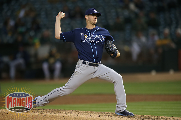 OAKLAND, CA - JULY 17:  Jake Odorizzi #23 of the Tampa Bay Rays pitches against the Oakland Athletics during the game at the Oakland Coliseum on Monday, July 17, 2017 in Oakland, California. (Photo by Brad Mangin)