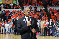 Virginia athletics director Craig Littlepaige addresses the crowd during the Last Ball in U-Hall closing ceremonies Sunday March 5, 2006 at University Hall in Charlottesville, Va. The Cavaliers will play in the new John Paul Jones Arena next year.