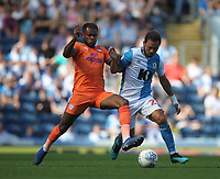 Blackburn Rovers Bradley Dack battles with  Cardiff City's Leandro Bacuna<br /> <br /> Photographer Mick Walker/CameraSport<br /> <br /> The Premier League - Blackburn Rovers v Cardiff City - Saturday August 24th 2019 - Ewood Park - Blackburn<br /> <br /> World Copyright © 2019 CameraSport. All rights reserved. 43 Linden Ave. Countesthorpe. Leicester. England. LE8 5PG - Tel: +44 (0) 116 277 4147 - admin@camerasport.com - www.camerasport.com