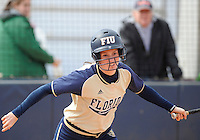 Florida International University infielder Rachel Slowik (17) plays against the University of Illinois.  FIU won the game 8-0 on February 12, 2012 at Miami, Florida. .
