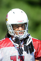 Jul 31, 2009; Flagstaff, AZ, USA; Arizona Cardinals wide receiver Larry Fitzgerald during training camp on the campus of Northern Arizona University. Mandatory Credit: Mark J. Rebilas-
