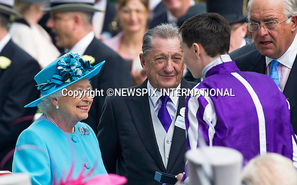19.06.2014;Ascot, England: ROYAL ASCOT 2014 LADIES DAY - QUEEN ELIZABETH AND JOSEPH O'BRIEN<br /> The Queen, Duke of Edinburgh, Princes Andrew and Harry Prince Harry, Princesses Anne, Eugenie and Beatrice in attendance on the Ladies Day of the 4-day Royal Ascot Race Meeting.<br /> Mandatory Photo Credit: &copy;Francis Dias/NEWSPIX INTERNATIONAL<br /> <br /> **ALL FEES PAYABLE TO: &quot;NEWSPIX INTERNATIONAL&quot;**<br /> <br /> PHOTO CREDIT MANDATORY!!: NEWSPIX INTERNATIONAL(Failure to credit will incur a surcharge of 100% of reproduction fees)<br /> <br /> IMMEDIATE CONFIRMATION OF USAGE REQUIRED:<br /> Newspix International, 31 Chinnery Hill, Bishop's Stortford, ENGLAND CM23 3PS<br /> Tel:+441279 324672  ; Fax: +441279656877<br /> Mobile:  0777568 1153<br /> e-mail: info@newspixinternational.co.uk