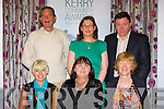 Forbairt na Dromoda members at the Kerry Community Awards in the Dromhall Hotel on Sunday l-r: Maire Ni Mhathuna, Cait Ui Chonnaill, Maire Ni Shuilleabhain. Back row: Padraig O Currain, Eibhlin Ni Shuilleabhain and Micheal O Riain..