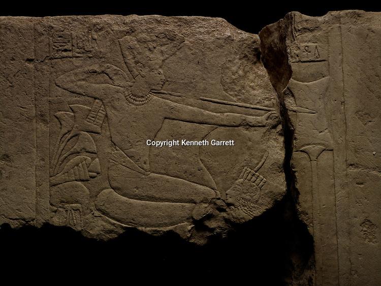 mm7864; 18th Dynasty; New Kingdom; Egypt; Tut; Tutankhamun; limestone; Sakkara, Smiting Enemies