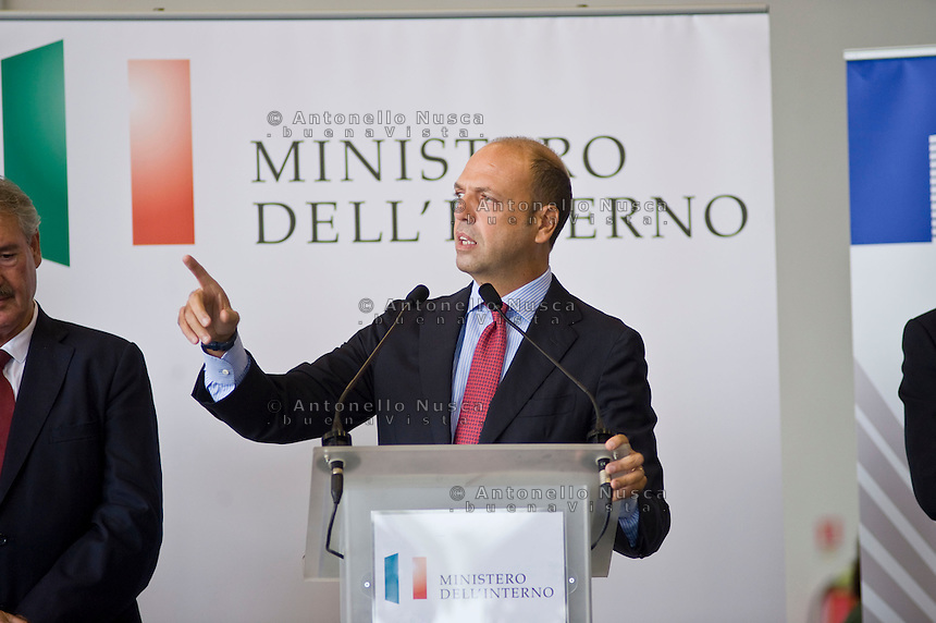 Rome, Italy, October 9, 2015.Ministro dell'interno Italiano, Angelino Alfano Italian Interior Minister Angelino Alfano, attends a press conference at Rome's Ciampino airport, after the departure of 19 Eritrean refugees to Sweden aboard an Italian Financial police aircraft. The aircraft, carrying 19 Eritreans, will bring the first refugees to Sweden under the European Union's new resettlement program aimed at redistributing asylum-seekers from hard-hit receiving countries.