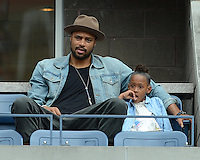 FLUSHING NY- SEPTEMBER 5: Tyson Chandler and his daughter are sighted watching the Sharapova Vs Bertoli match on Arthur Ashe stadium at the USTA Billie Jean King National Tennis Center on September 5, 2012 in in Flushing Queens. Credit: mpi04/MediaPunch Inc. ***NO NY NEWSPAPERS*** /NortePhoto.com<br />
