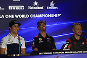 14th September 2017, Marina Bay Street Circuit, Singapore; Singapore Grand Prix, Driver Press Conference; Lance Stroll - Williams Martini Racing, Daniel Ricciardo - Red Bull Racing and Kevin Magnussen - Haas F1 Team