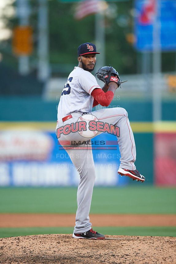 Louisville Bats starting pitcher Amir Garrett (25) delivers a pitch during a game against the Buffalo Bisons on June 22, 2016 at Coca-Cola Field in Buffalo, New York.  Buffalo defeated Louisville 8-1.  (Mike Janes/Four Seam Images)