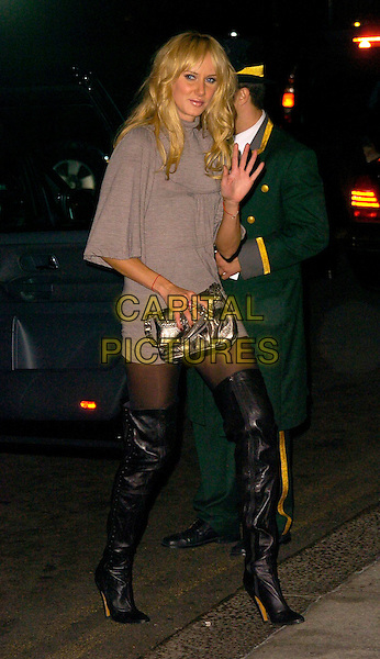 KIMBERLEY STEWART.The Gina Shoes 50th Anniversary Party, Dorchester Hotel, London, UK..September 19th, 2006.Ref: CAN.full length Kimberly grey gray thigh high boots black silver metallic purse bag hand palm waving.www.capitalpictures.com.sales@capitalpictures.com.©Can Nguyen/Capital Pictures