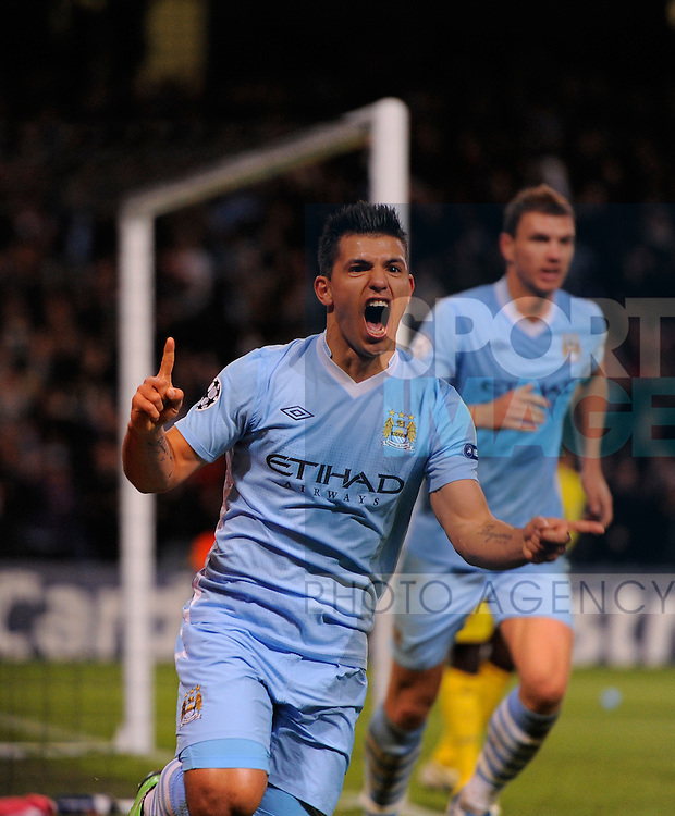 Sergio Aguero of Manchester City celebrates scoring the winning goal