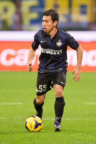 "Yuto Nagatomo (Inter), NOVEMBER 9, 2013 - Football / Soccer : Italian ""Serie A"" match between Inter Milano 2-0 AS Livorno Calcio at San Siro Stadium in Milan, Italy. (Photo by Enrico Calderoni/AFLO SPORT)"