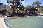 Tree houses and campsite, Saklikent river, Mugla Province, Turkey