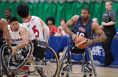 03.07.2016. Leicester Sports Arena, Leicester, England. Continental Clash Wheelchair Basketball, USA versus Japan.  Trevon Jenifer (USA) in action during the match