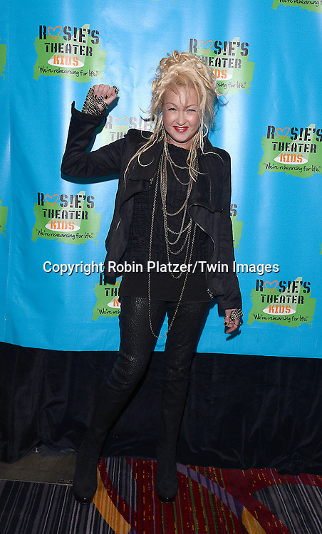 Cyndi Lauper attend Rosie O'Donnell's 11th Annual Rosie's Theater Kids Gala on September 22, 2014 at The New York Marriott Marquis in New York City. <br /> <br /> photo by Robin Platzer/Twin Images<br />  <br /> phone number 212-935-0770