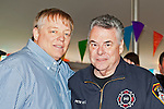 Fund raiser for firefighter Ray Pfeifer on Saturday, March 31, 2012, at East Meadow Firefighters Benevolent Hall, New York, USA.  Left to right are Ray Pfeifer and Congressman Pete King (Republican - NY) early at the event.