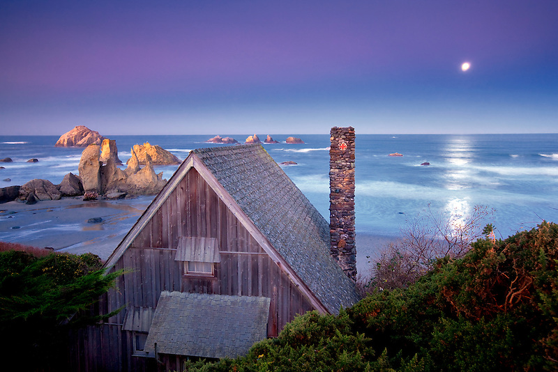 Cabin overlooking Bandon beach with moon set. Bandon, Oregon